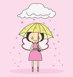 Fairy with an umbrella vector image vector image