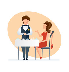 fashionable girl visits restaurant orders dishes vector image