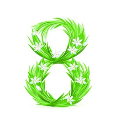 grass letters number 8 vector image