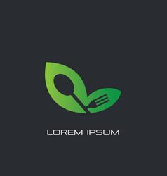 leaf eco spoon fork logo restaurant vector image