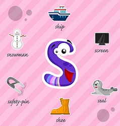 Letter s with words vector