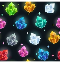 Magic seamless pattern with colorful crystals vector image