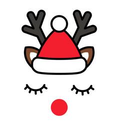 minimalistic cute christmas reindeer with santa vector image vector image