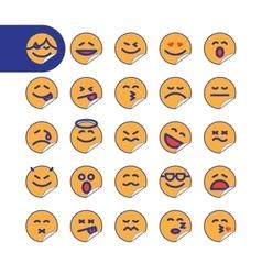 Set of sticker emoji emoticons vector image vector image