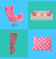 sofa and pillows interior set vector image vector image