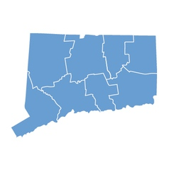 State Map of Connecticut by counties vector image vector image