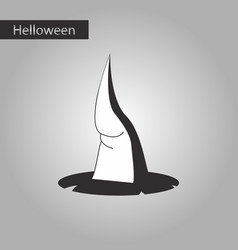 black and white style icon of witch hat vector image