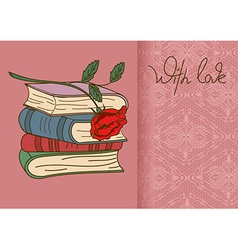 Card or invitation with books and rose flower vector image vector image