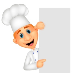 Happy chef cartoon holding blank sign vector image vector image