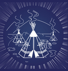 life indigenous people silhouette vector image