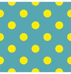 Seamless background with yellow polka dots blue vector image vector image