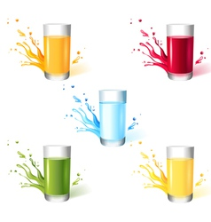 5 glasses with different drinks vector image