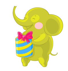 cute green elephant laughs and rejoices at the vector image vector image