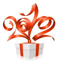 gift box and red ribbon vector image vector image