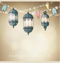 hand drawn ornamental arabic lanterns with string vector image vector image