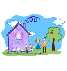 kids sketch of happy family with house vector image