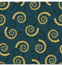 Yellow swirls on green background seamless pattern vector image vector image