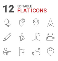 12 marker icons vector image