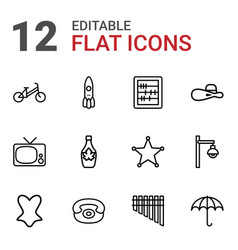 12 retro icons vector