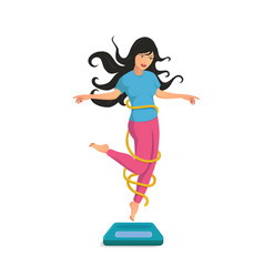 a happy girl jumps of floor scales and smile vector image