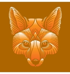 Animal fox head print Ethnic patterned ornate vector