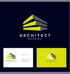 Architect bureau logo brick modules vector