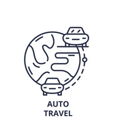 auto travel line icon concept auto travel vector image