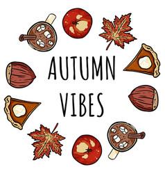Autumn vibes decorative wreath cute cozy banner vector