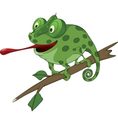 Big green Chameleon cartoon vector image