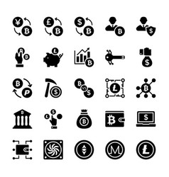 Bitcoin and cryptocurrency glyph icons vector