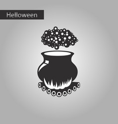 black and white style icon of potion cauldron vector image