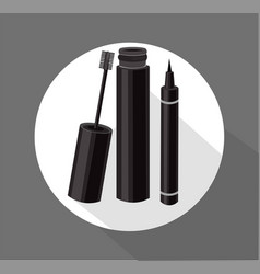 Black mascara brush eyeliner cosmetics vector