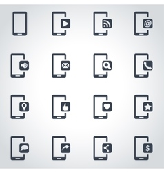 black mobile icon set vector image