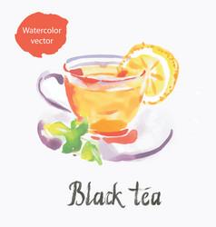 Black tea watercolor vector
