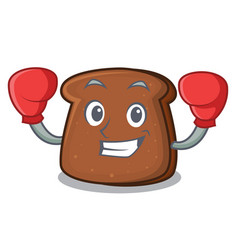 Boxing brown bread character cartoon vector