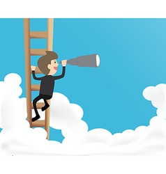 Businessman climb ladder into sky and use vector