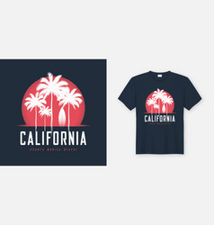 California santa monica beach t-shirt and apparel vector