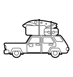 Car with luggage on roof icon outline style vector image