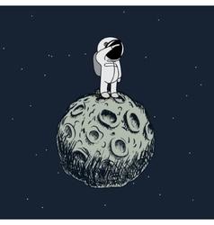 Cartoon astronaut standing on the moon vector