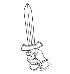 cartoon image of hand with sword vector image