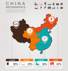 China map with infographic elements infographics vector