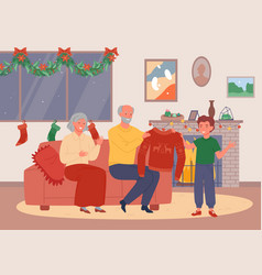Christmas evening at grandparents home happy vector