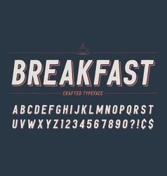 condensed retro display font design alphabet vector image