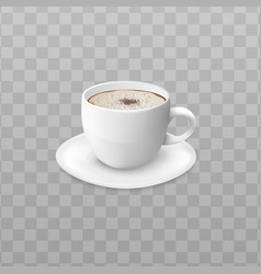 cup cream coffee or cappuccino side view 3d vector image