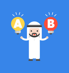 Cute arab businessman and two lightbulbs in his vector