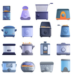 Deep fryer icons set cartoon style vector