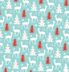 Deer and christmas tree pattern vector