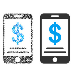 dollar mobile wallet collage of dollars vector image