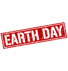 Earth day square grunge stamp vector