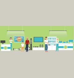Electronics store banner with shopping people vector